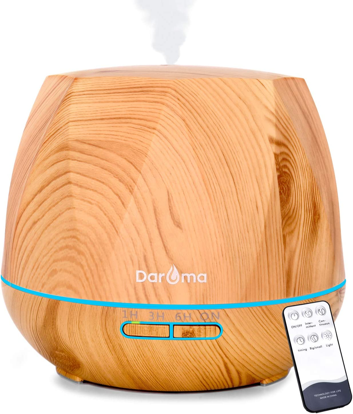 Amazon Com 550ml Essential Oil Diffuser Daroma Upgraded Remote Control 6 In 1 Aromatherapy Ultrasonic Cool Mist Humidifier 7 Color Changing Mood Lights Waterless Auto Off For Home Office Gift Light Wood Kitchen