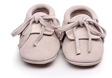109b389a09ecb Backbuy Confortables Chaussons Pour Bébé à Cuir Nubuck Lacets Up Chaussures  Premiers Pas Filles (0