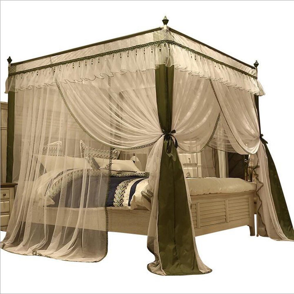 Nattey 4 Corner Post Canopy Bed Curtains Mosquito Net Bed Frame Draperies(Queen, White and Olive)