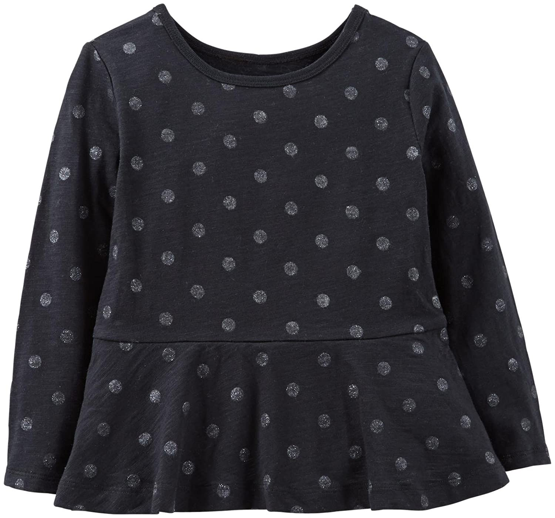 d0f54827 Amazon.com: Carter's Little Girls' Print Peplum Top (Toddler/Kid) - Black:  Clothing
