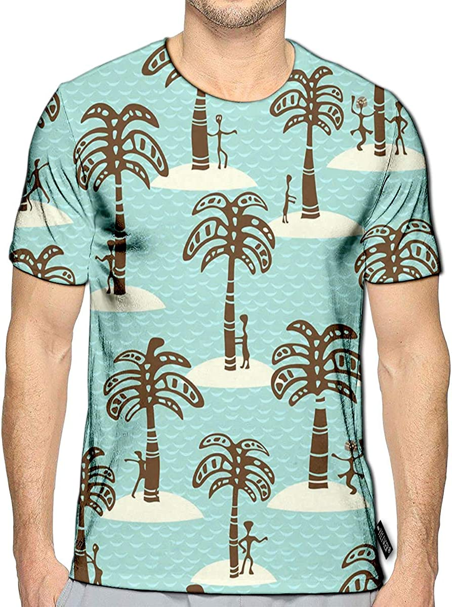 YILINGER 3D Printed T-Shirts Depicting Palm People Sea Islands Short Sleeve Tops Tees