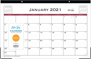 """Blue Sky 2021 Monthly Desk Pad Calendar, Two-Hole Punched, Ruled Blocks, 17"""" x 11"""", Classic Red"""