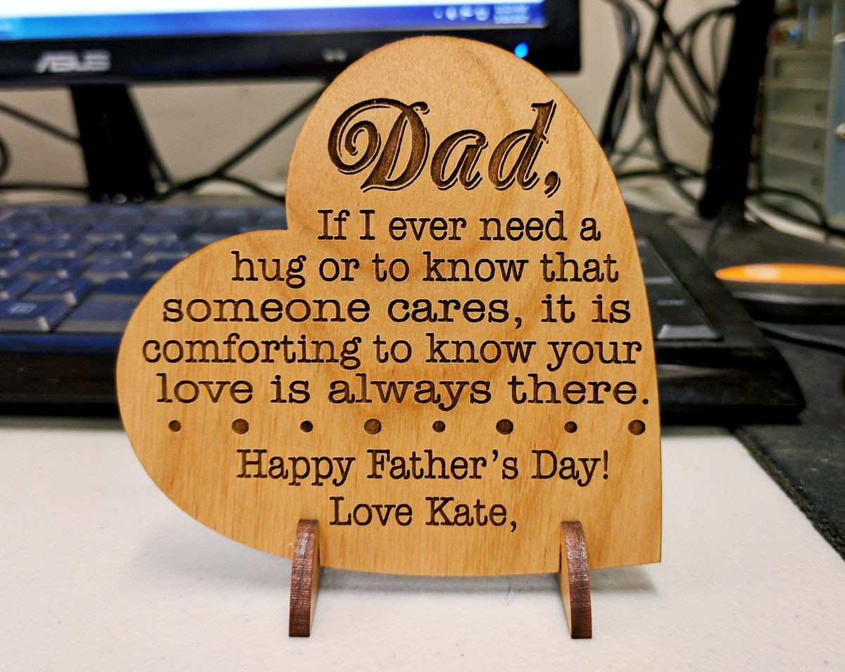 Custom Engraved Alder Wood Greeting Card for Dad Personalized Heart Shaped Fathers Day, Birthday, Chrismas, Thank You Unique Daddy Godfather Grandpa Dad Gift from Kids Wife for Him Comes with Stand by Greeting Card-by-StockingFactory (Image #6)