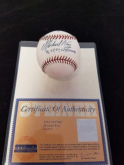 951fd2cc Michael Kay John Sterling Autograph Inscribed MLB Baseball NY ...