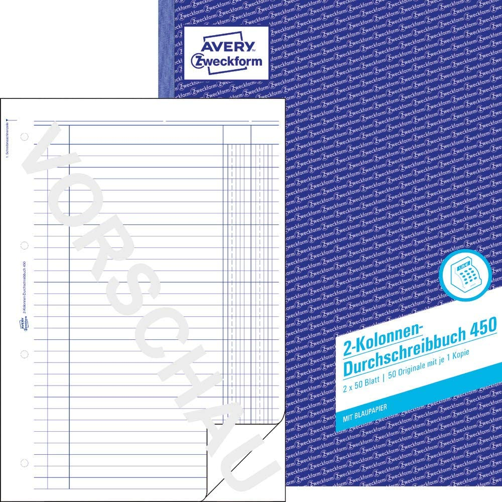 German Text Avery Zweckform 450 Columned Book A4 2 x 50 Pages