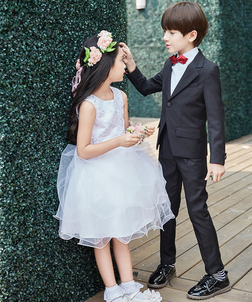 SK Studio Boys' 5 Pieces Wedding Solid Color Dress Formal Suits Black by SK Studio (Image #6)