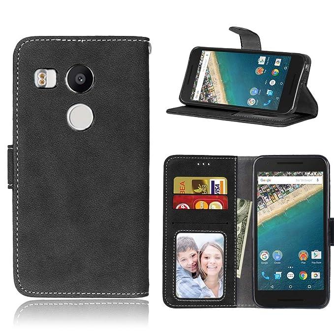 Coque pour LG Nexus 5X, Ecoway Givré Coque/ Housse/ Case/ Couverture/ Étui de Protection/ Cover/ PU Leather Coque Flip Magnétique Portefeuille Etui Housse de Protection Coque Étui Case Cover avec S