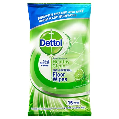 Dettol Health Clean Anti Bacterial Floor Wipes Fresh Lime Mint 15 Pack Amazon In Health Personal Care