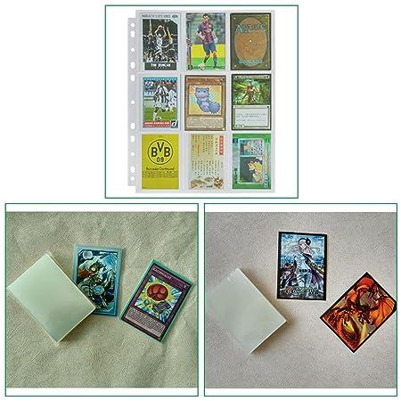 Lictin 50Pcs Juego de Fundas para Cartas Almacenamiento Colección paginas del Album Collection 50 Páginas(450 cuadrícula para Cartas),Género ...