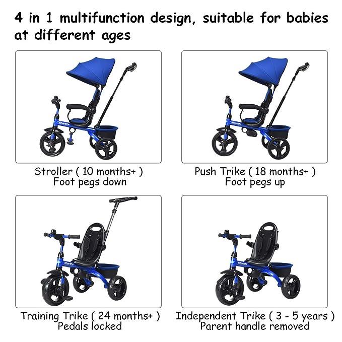 Amazon.com: INFANS Kids Tricycle, 4 en 1 carrito de paseo ...