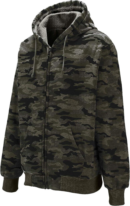Full Zip Up Thick Sherpa Lined GEEK LIGHTING Hoodies for Men Heavyweight Fleece Sweatshirt