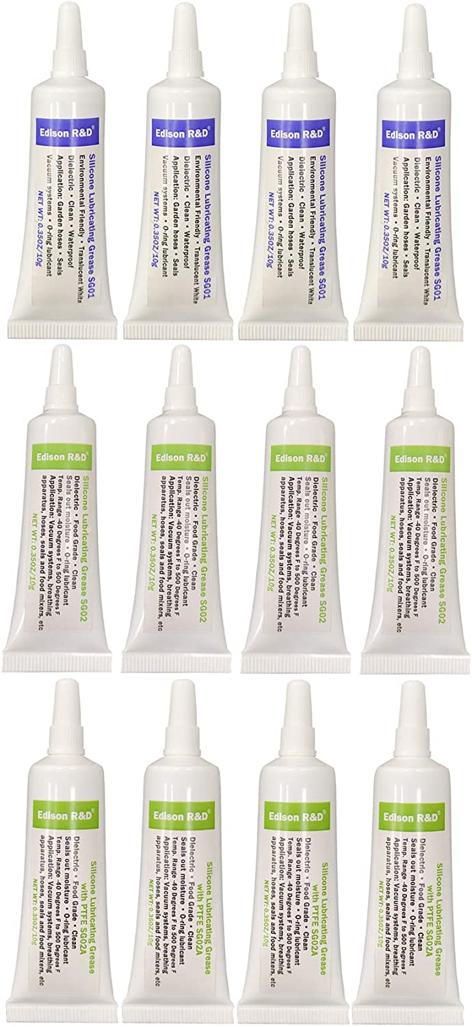 Edison R&D Best Selected Silicon Grease Three Formula SG01, SG02, SG02A Food Grade with PTFE Mulit Function Lubricant, Faucet O-ring Lubricant Water Proof, Dielectric 0.35OZx12/Pack(4 for Each Style)