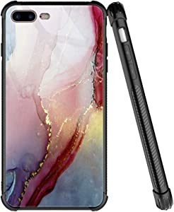 iPhone SE 2020 Case,Marble Pink Pattern iPhone 8 Cases for Boys Men,Tempered Glass Four Corners Desgin iPhone 8 Case, Anti-Scratch Shockproof Cover Compatible with iPhone 7/8/SE2