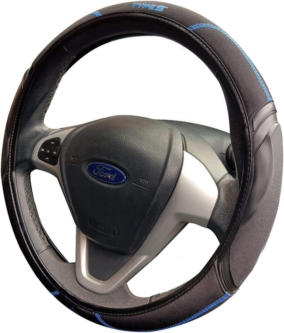 WINPLUS Type S Car Steering Wheel Cover Soft Grip Improvement Black//Blue
