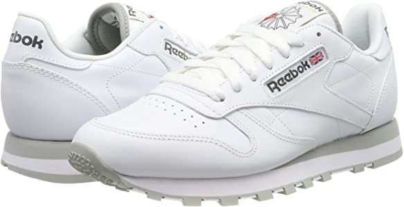 Reebok Classic Leather - Zapatillas de cuero para hombre, color blanco (int-white / lt. grey), talla 42: Amazon.es: Deportes y aire libre