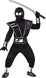 Fun World Mirror Ninja Silver Costume, Medium 8 - 10, Multicolor