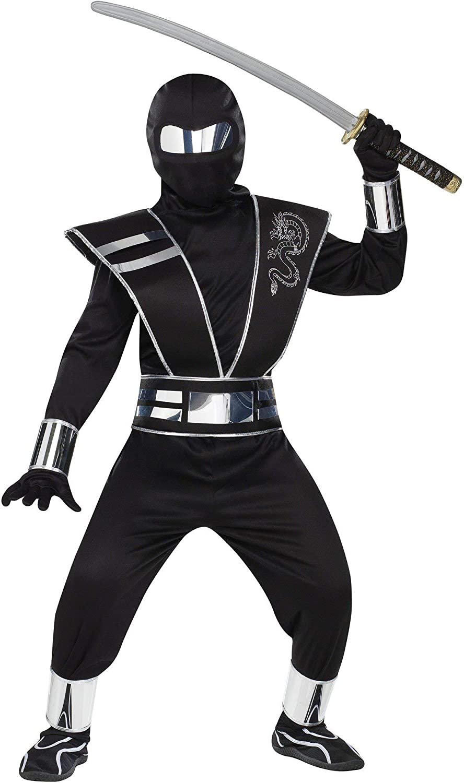 Boys Ghost Ninja Samurai Warrior Fancy Dress Costume Childrens Outfit