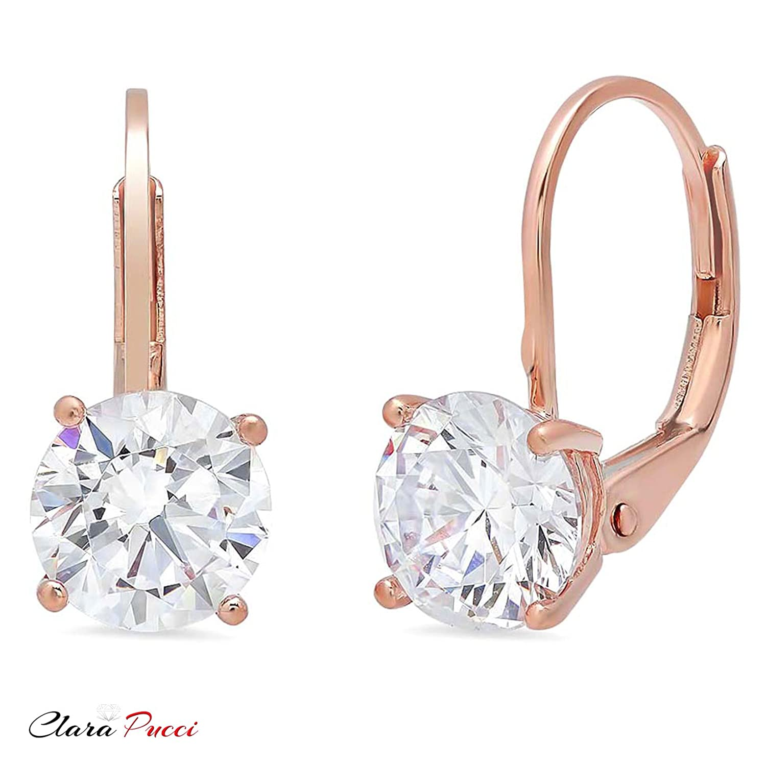 1.10 CT BRILLIANT ROUND CUT Simulated Diamond Solitaire DROP DANGLE LEVERBACK EARRINGS 14K Rose GOLD