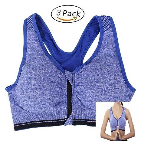 EBRICKON 3 Pcs Yoga Sports Bra For Running Gym Shakeproof Front Zipper Bra