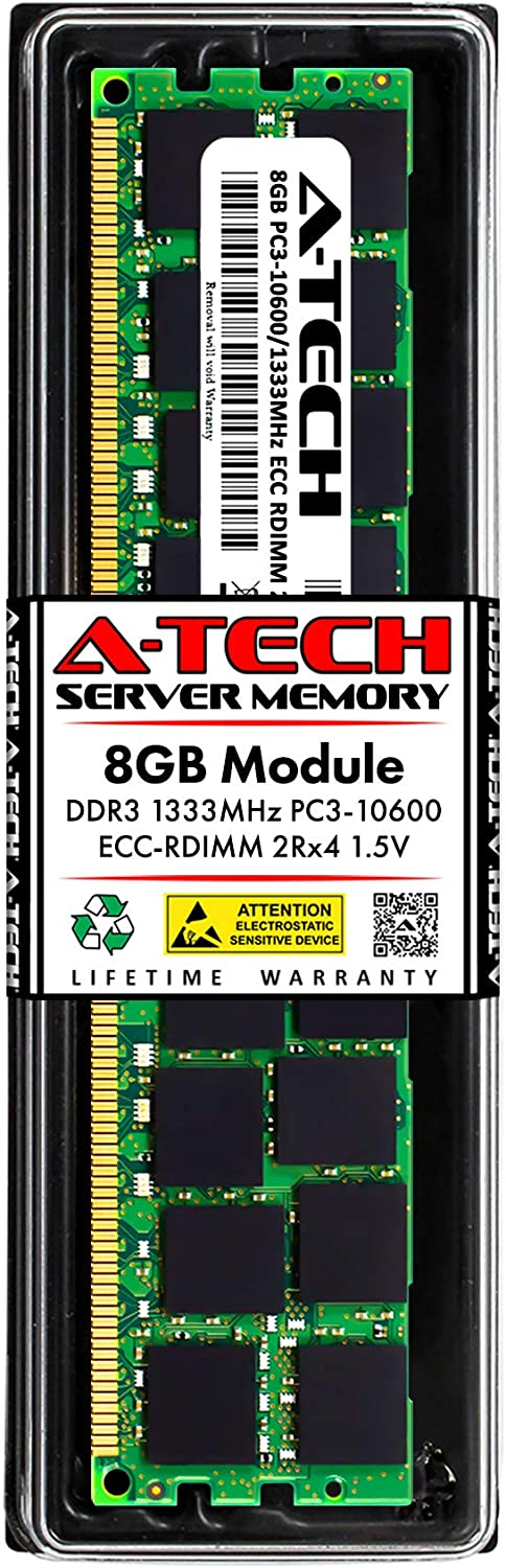 A-Tech 8GB Memory RAM for Dell PowerEdge T410 - DDR3 1333MHz PC3-10600 ECC Registered RDIMM 2Rx4 1.5V - Single Server Upgrade Module (Replacement for A6996808)