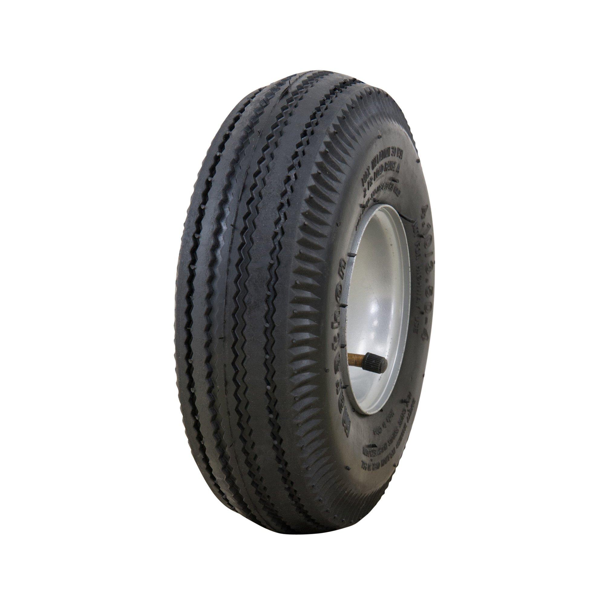 Marathon 4.10/3.50-4'' Pneumatic (Air Filled) Hand Truck/All Purpose Utility Tire on Wheel, 2.25'' Offset Hub, 3/4'' Bearings