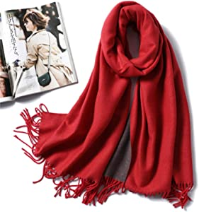 ROTE Winter Cashmere Scarf Women Thick Warm Shawls Wraps Lady Solid Scarves Fashion Tassels Pashmina Blanket Quality Foulard 2020 New