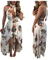 Women Halter Backless High Low Floral Printed Prom Gown Evening Party Dress