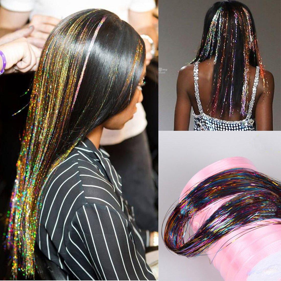 Amazon 40 Inch Hair Tinsel 500 Strands Sparkling Tinsel Hair