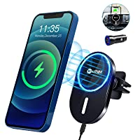 WAITIEE Magnetic Wireless Car Charger for Mag-Safe Case/iPhone 12/12 Pro/ 12 Pro Max/ 12 Mini with QC3.0 Adapter 15W/ 10W/ 7.5W/ 5W Fast Wireless Car Charger Mount with Secure Air Vent Clamp (Black)