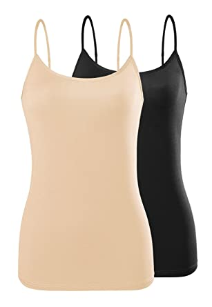 c99b3638ba15c Air Curvey Basic Camisole for Women Cami Tanks Adjustable Spaghetti Strap  Tank Tops Black Apricot S