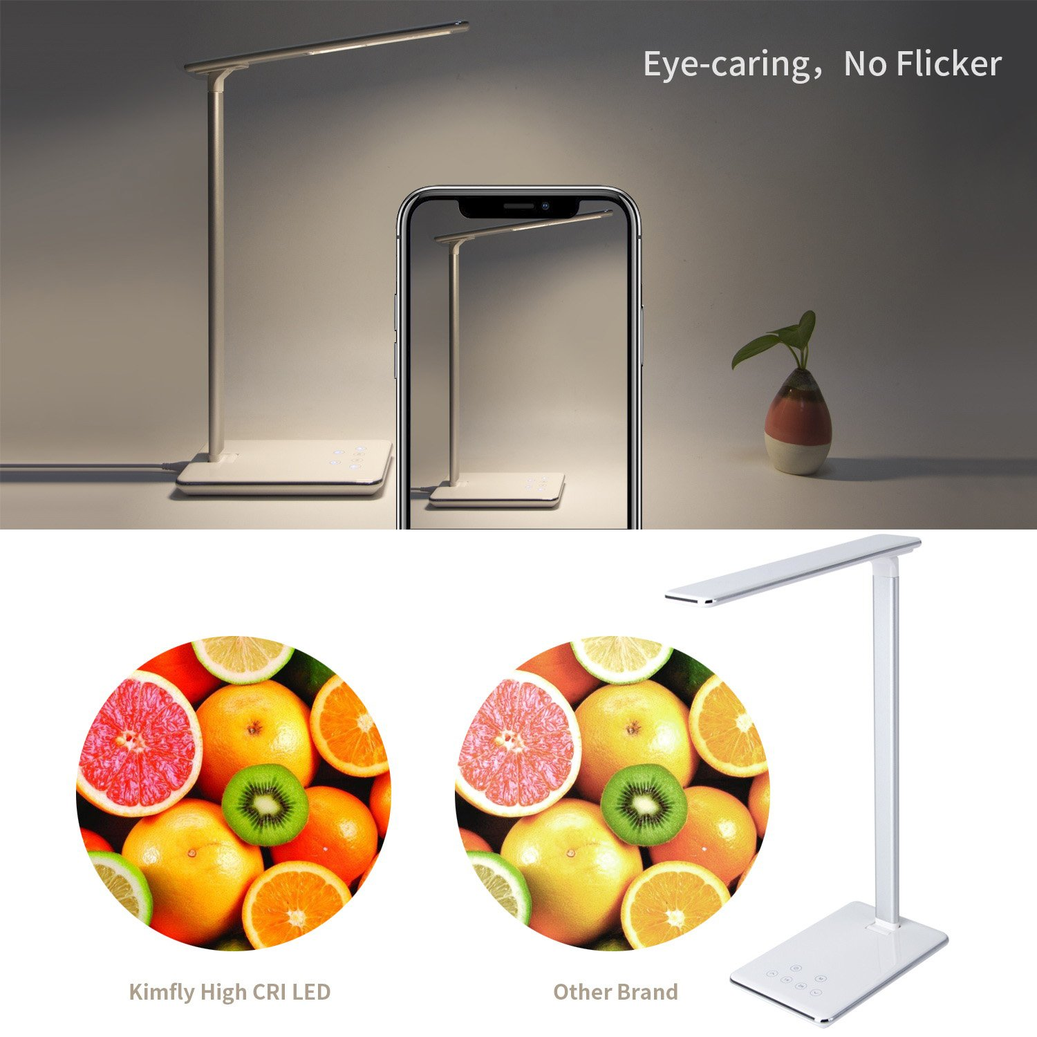 Kimfly LED Desk Lamp, Dimmable Desk Lamp with 4 Lighting Modes, Touch Control Table Lamp, Office Lamp with USB Charging Port