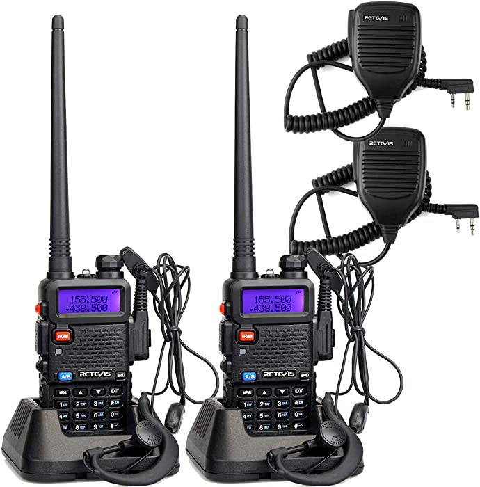 Retevis RT-5R Dual Band Two Way Radio 128CH UHF/VHF Long Range Walkie Talkies for Adults FM Emergency 2 Way Radio with Earpiece (2 Pack)