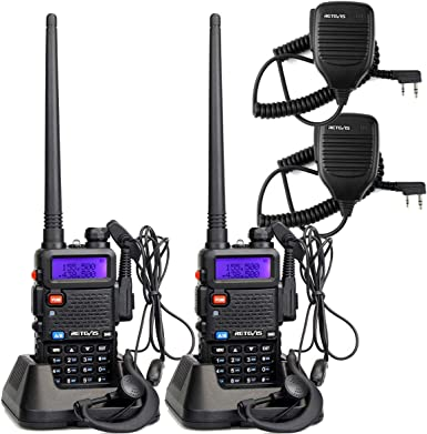 Retevis RT-5R 2 Way Radio 128CH UHF VHF Long Range Walkie Talkies for Adults Two-Way Radios with Speaker Headset and Microphone 2 Pack