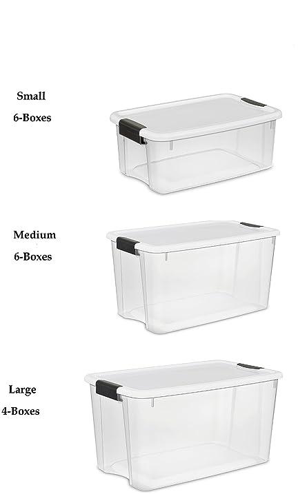 Amazoncom Sterilite Clear Storage Boxes Set 4 Large 6 Medium 6