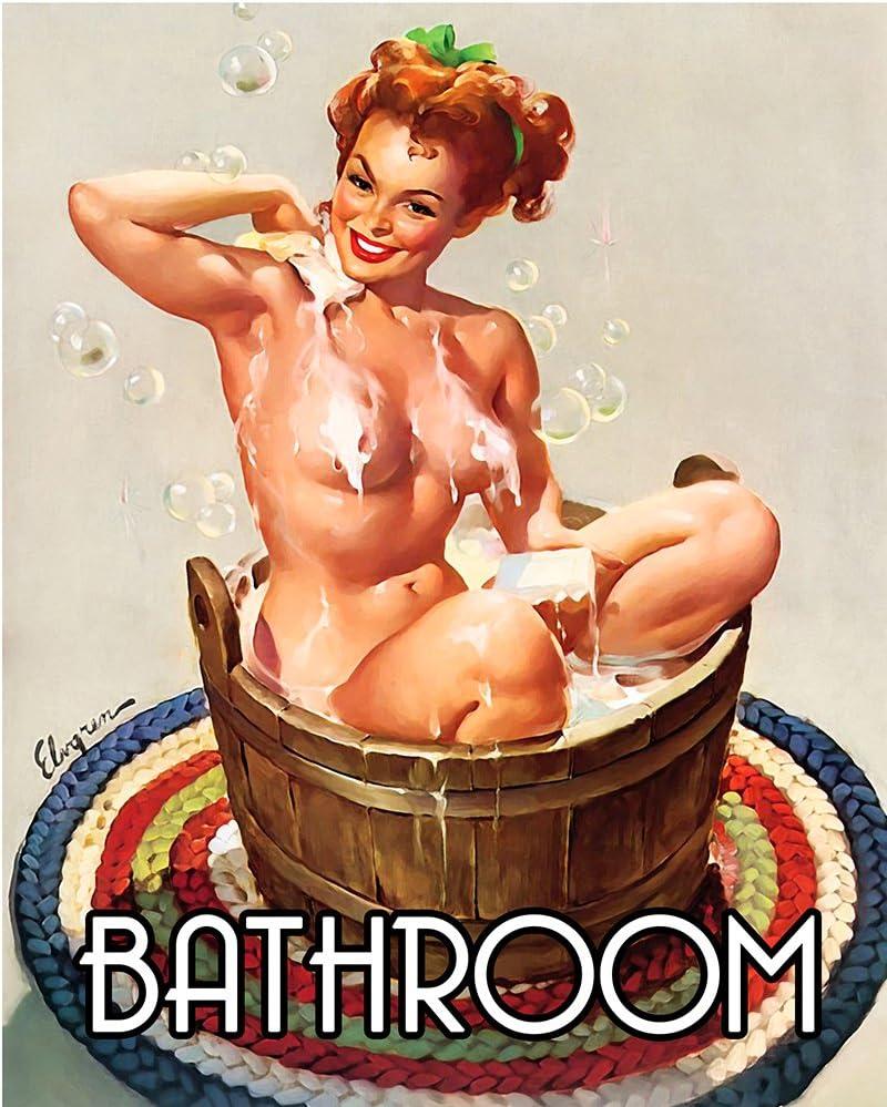 Chill stile vintage Targa da parete in metallo con ragazza pin-up che fa il bagno 15,2/x 20,3/cm