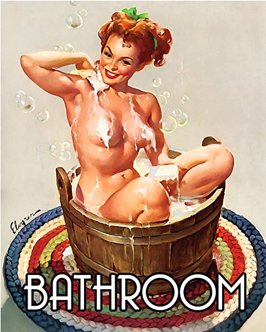 Vintage Pin Up Girl Poster//Art Print//Girl Washing Hair in Bathing Suit// 13x19