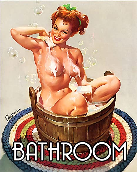 Bathroom Pinup Pin Up Girl 6x8inch Metal Wall Sign Plaque Vintage