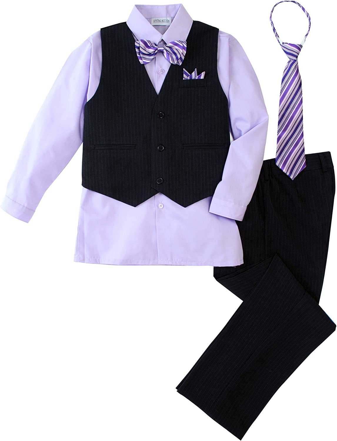 B00I1R5T2S Spring Notion Big Boys' 5 Piece Pinstripe Vest Set with Necktie and Bowtie Lilac 71yDbp8r2BNL