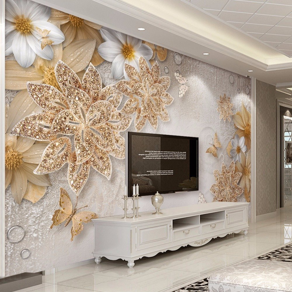 Lwcx Custom Mural Wallpaper For Bedroom Walls 3D Luxury Gold Jewelry Flower Butterfly Background Wall Papers Home Decor Living Room G 400X280CM