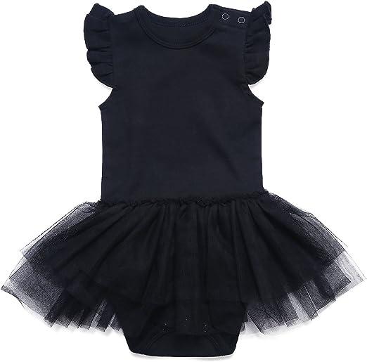 SOBOWO Baby Girl Solid Black Dress Infant Cotton Short//Long Sleeve Princess Dresses 6-48 Months