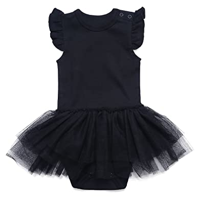 1f1d77de8f Amazon.com  SOBOWO Baby Girls My Little Black Tutu Dress Bodysuit 0 ...