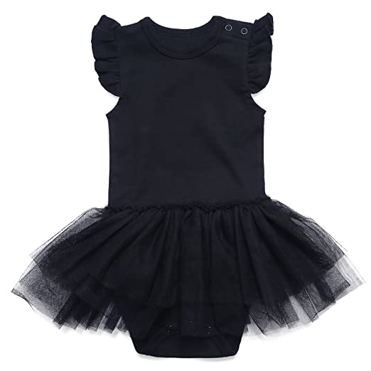 5891b0f93ea41 ROMPERINBOX Romeprinbox Baby Girls Solid Little Black Dress Bodysuit (0-3  Months)