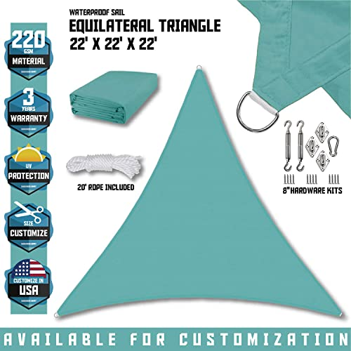 Sunshades Depot 22 x22 x22 Equilateral Triangle Waterproof Knitted Shade Sail With 8 inch Hardware Kit Curved Edge Turquoise Green 220 GSM UV Block Pergola Carport Awning Canopy Replacement Awning