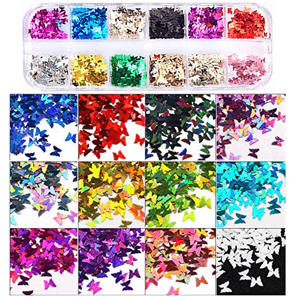 12 Colors Butterfly Glitter Nail Sequins - 3D Nail Art Flakes Colorful Confetti Glitter Sticker Decals Manicure Nail Art Design Makeup DIY Decoration: Beauty