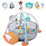 WYSWYG Stimulating Baby Play Mat - 3 in 1 Baby Gym with 4 Hanging Toys & 30 Balls - Infant Playmat for Tummy Time…