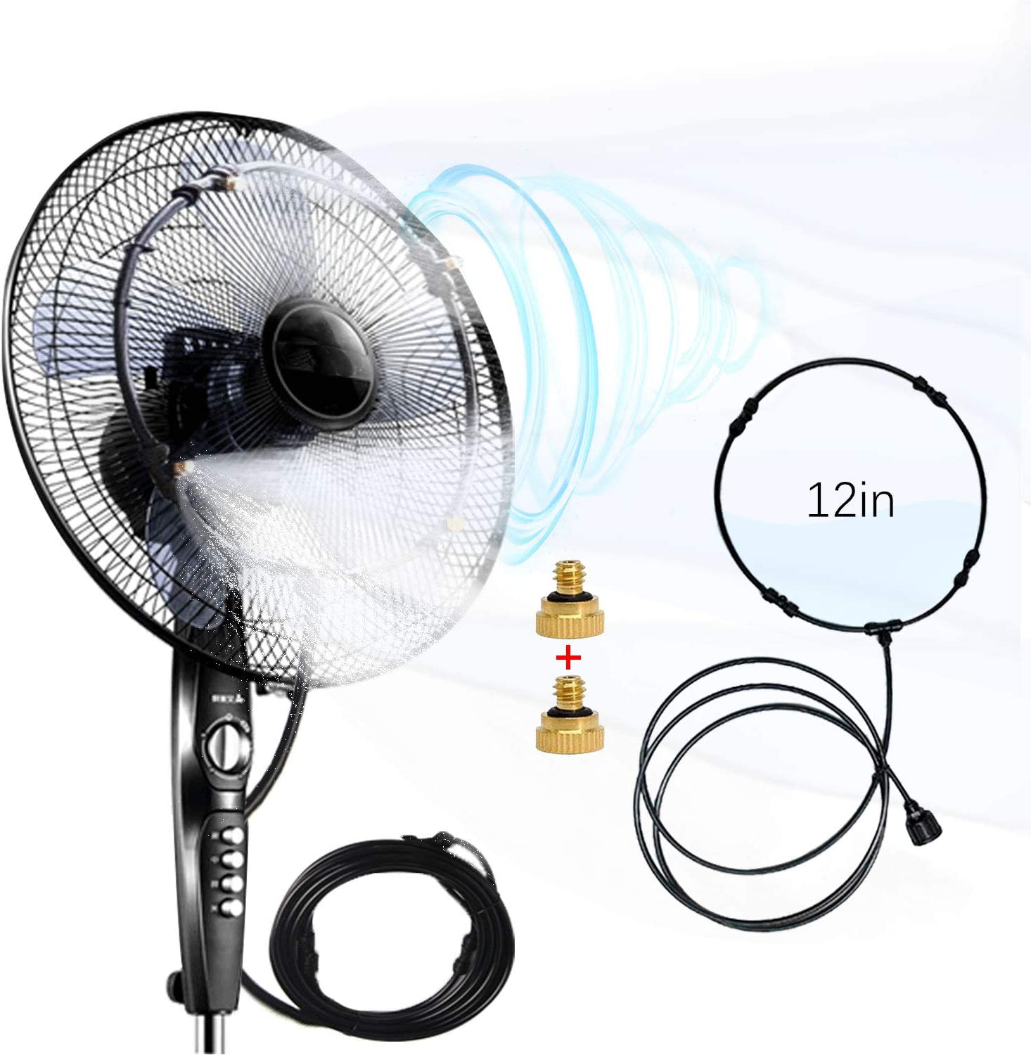 titkatool Outdoor Fan Misting Kit, 19.36FT Mist Cooling System, Cool Patios Misting Line and General Brass Adapter Connects to Any Fan Convert Misting for Cooling Outdoor