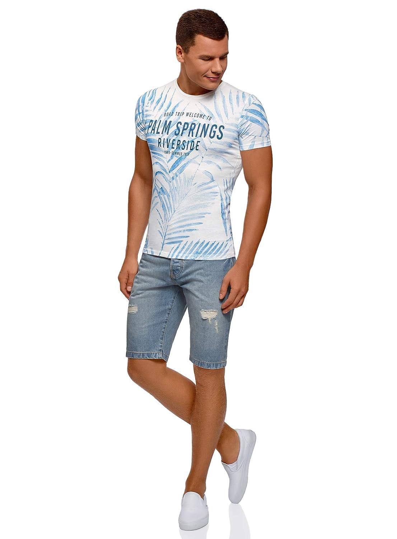 oodji Ultra Hombre Pantalones Cortos Vaqueros con Agujeros: Amazon.es: Ropa y accesorios