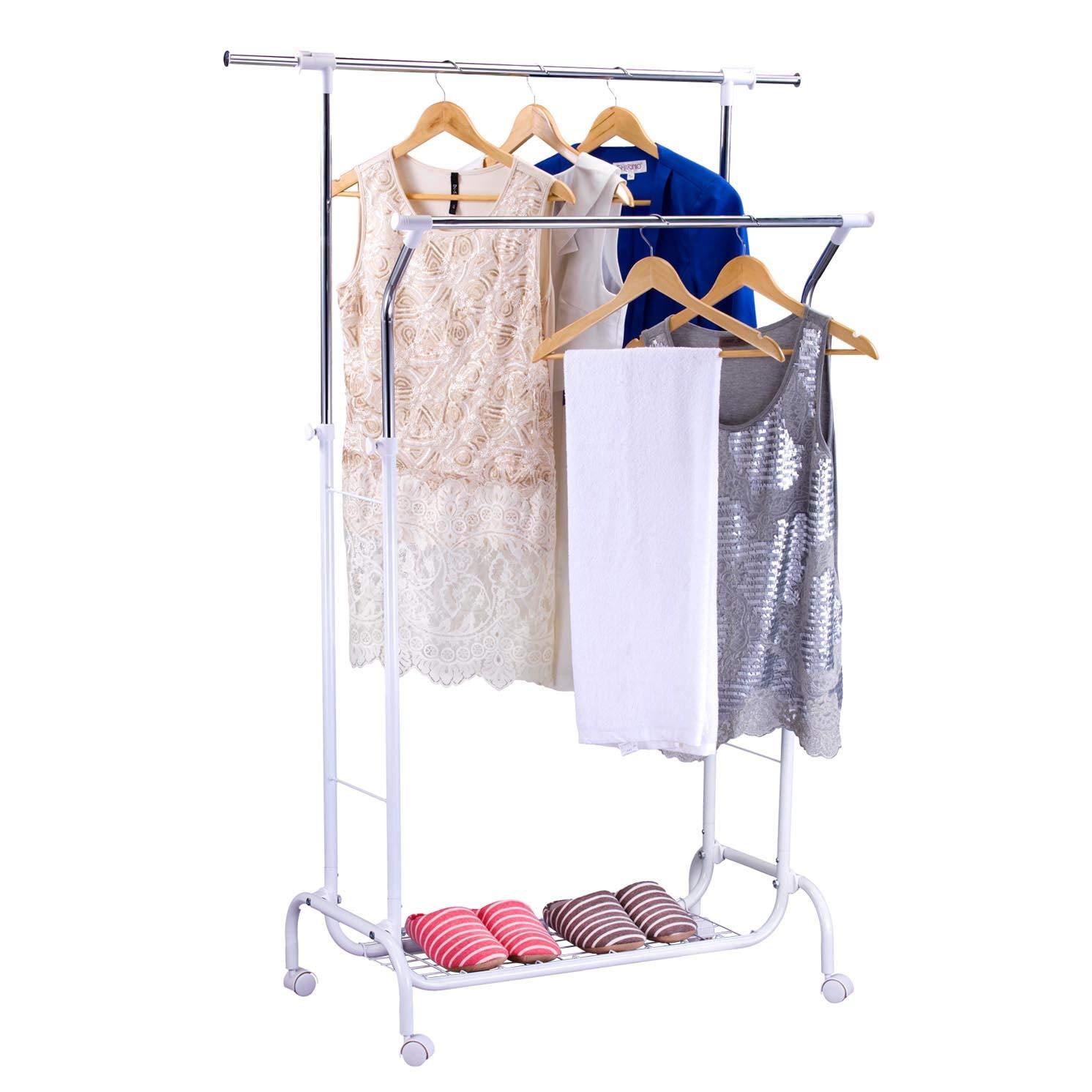 Amazoncom Mythinglogic Double Rail Garment Rack With Wheels Heavy Duty