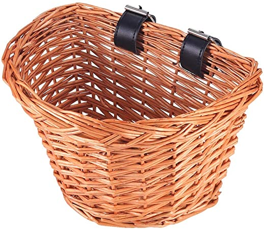 Tophgc Bicycle Wicker Basket Traditional Wicker Bicycle Front Basket With Leather Straps Bike Accessories Amazon Co Uk Sports Outdoors