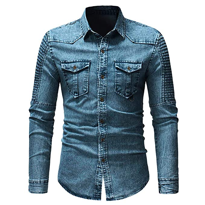 Blusa de Hombre de BaZhaHei, Camisas de botón de Corte Slim Casual para Hombre con